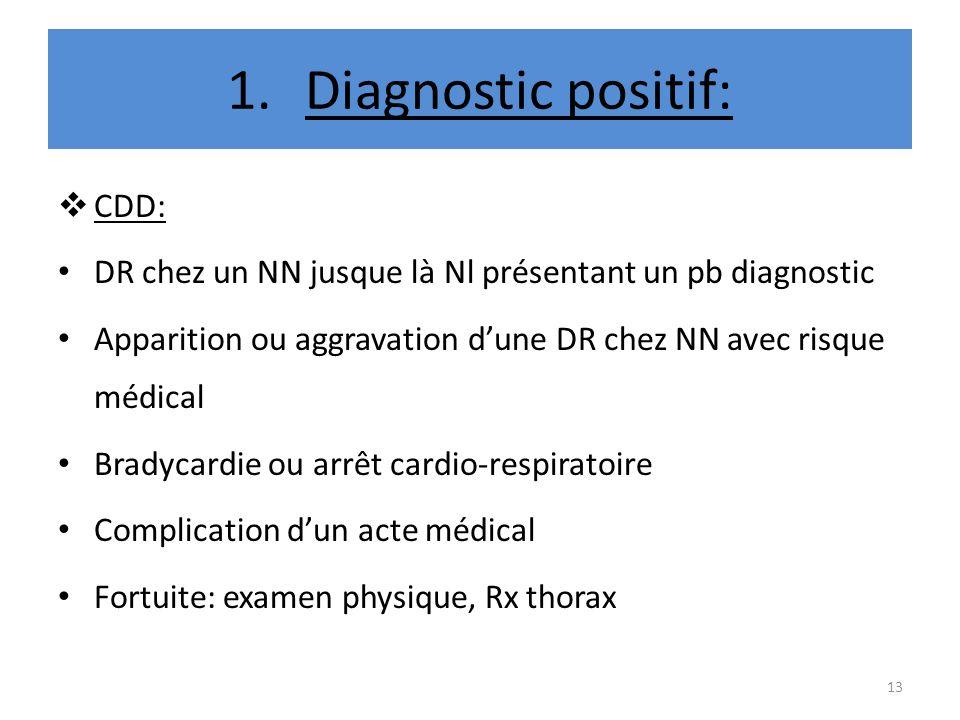 1.Diagnostic positif: CDD: DR chez un NN jusque là Nl présentant un pb diagnostic Apparition ou aggravation dune DR chez NN avec risque médical Bradyc