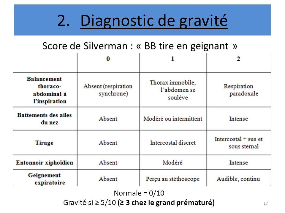 2.Diagnostic de gravité Normale = 0/10 Gravité si 5/10 ( 3 chez le grand prématuré) Score de Silverman : « BB tire en geignant » 17