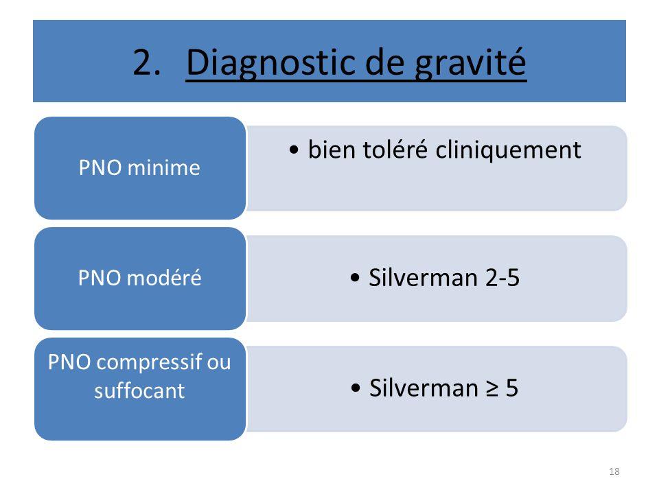 2.Diagnostic de gravité bien toléré cliniquement PNO minime Silverman 2-5 PNO modéré Silverman 5 PNO compressif ou suffocant 18