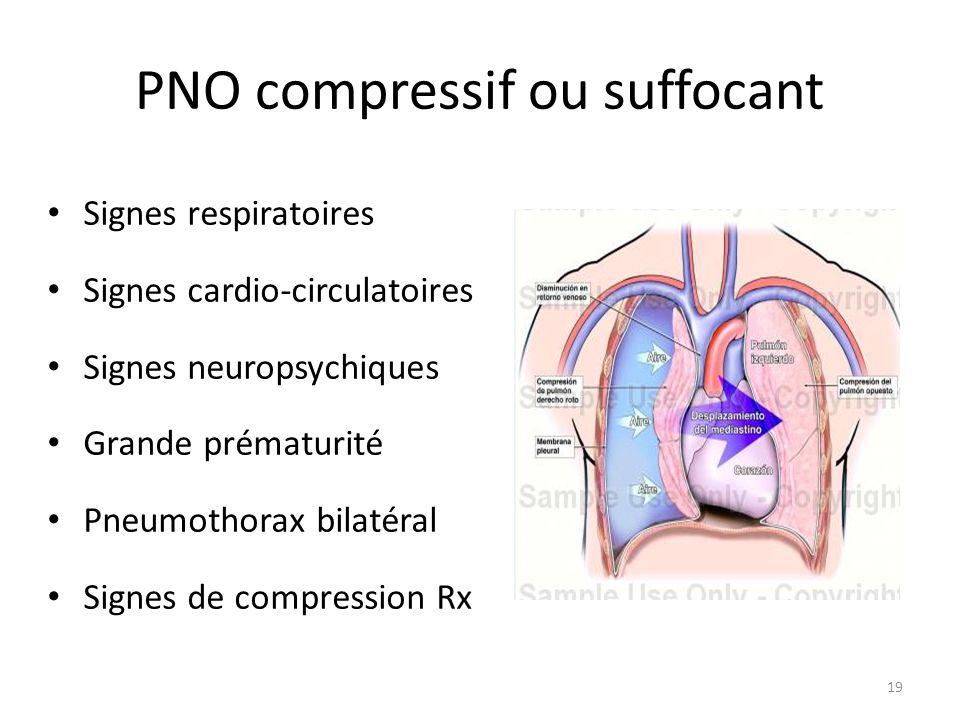 PNO compressif ou suffocant Signes respiratoires Signes cardio-circulatoires Signes neuropsychiques Grande prématurité Pneumothorax bilatéral Signes d