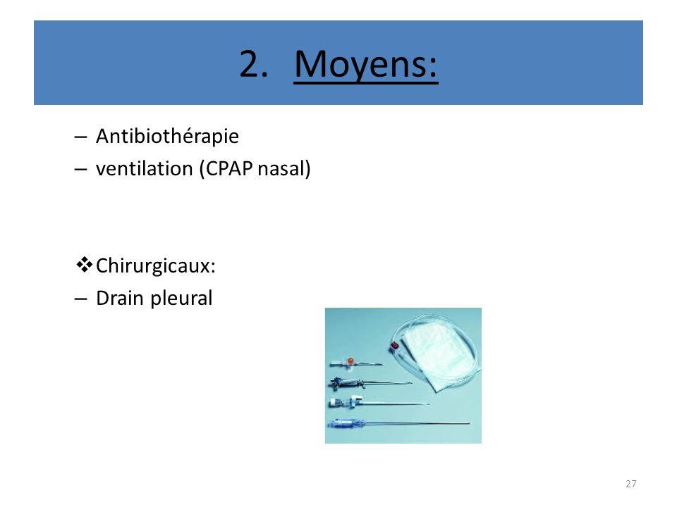 2.Moyens: – Antibiothérapie – ventilation (CPAP nasal) Chirurgicaux: – Drain pleural 27