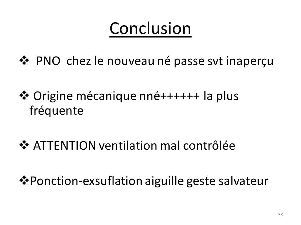 Conclusion PNO chez le nouveau né passe svt inaperçu Origine mécanique nné++++++ la plus fréquente ATTENTION ventilation mal contrôlée Ponction-exsufl
