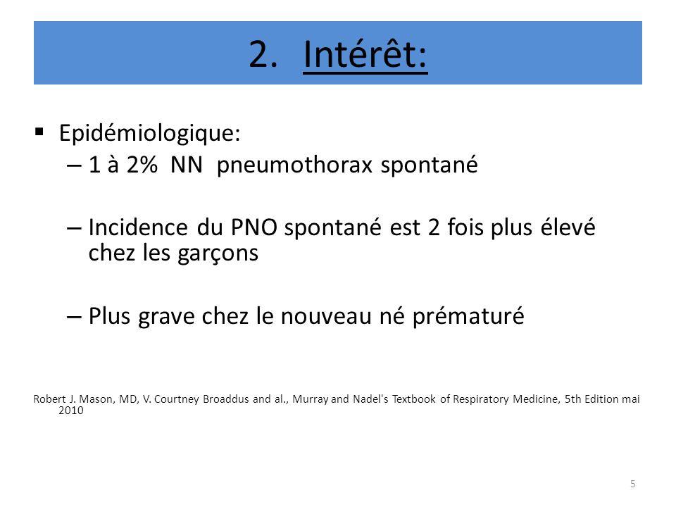2.Intérêt: Epidémiologique: – 1 à 2% NN pneumothorax spontané – Incidence du PNO spontané est 2 fois plus élevé chez les garçons – Plus grave chez le