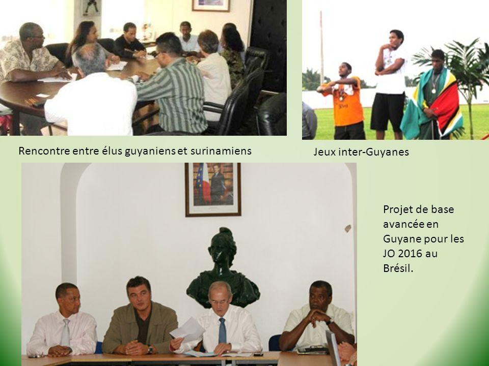 Rencontre entre élus guyaniens et surinamiens Jeux inter-Guyanes Projet de base avancée en Guyane pour les JO 2016 au Brésil.