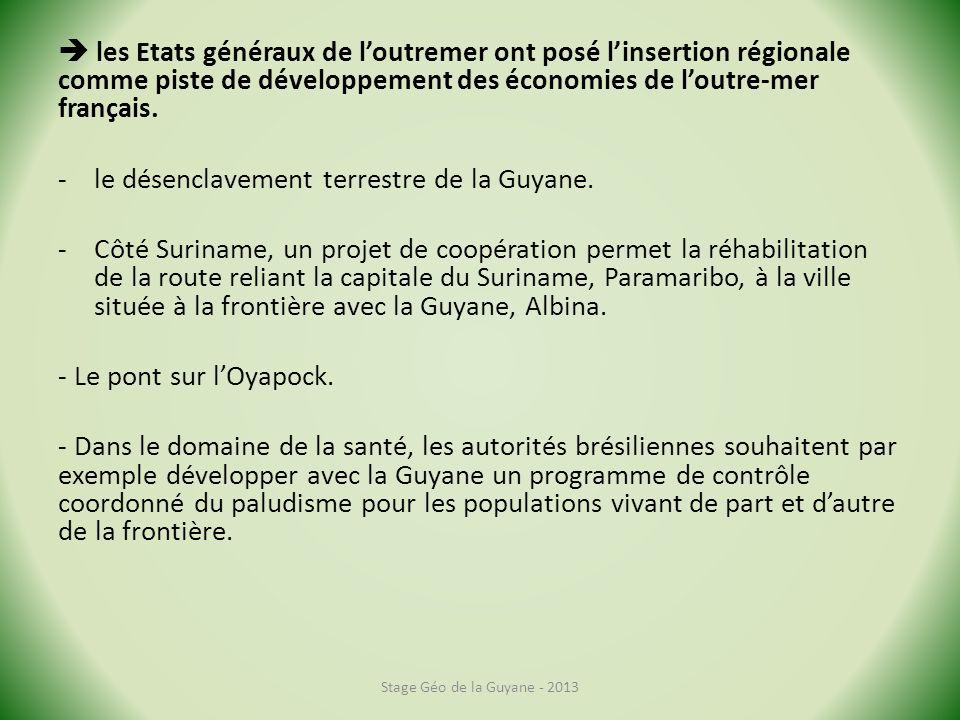les Etats généraux de loutremer ont posé linsertion régionale comme piste de développement des économies de loutre-mer français.