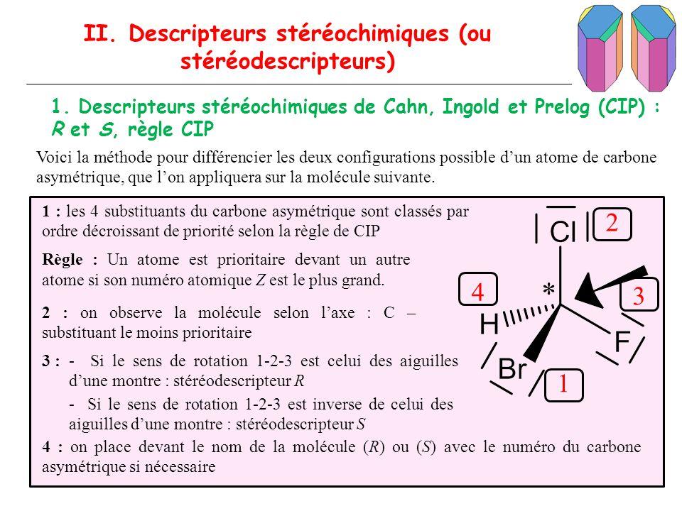 II. Descripteurs stéréochimiques (ou stéréodescripteurs) 1. Descripteurs stéréochimiques de Cahn, Ingold et Prelog (CIP) : R et S, règle CIP Voici la