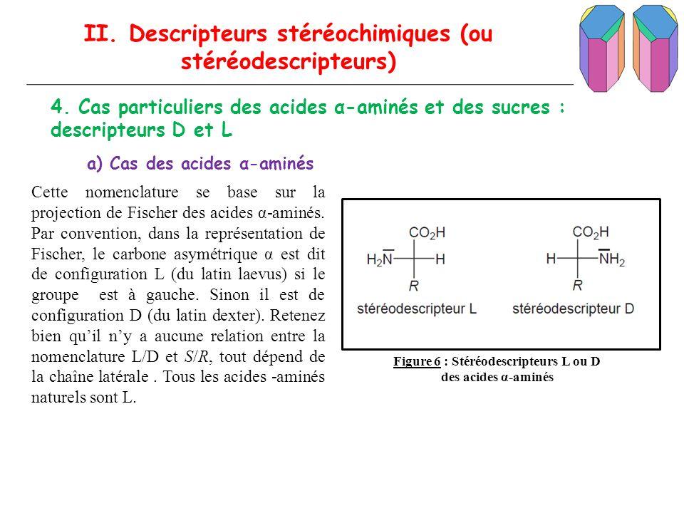 II. Descripteurs stéréochimiques (ou stéréodescripteurs) 4. Cas particuliers des acides α-aminés et des sucres : descripteurs D et L Cette nomenclatur