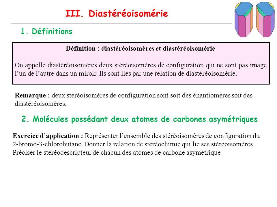 III. Diastéréoisomérie 1. Définitions Définition : diastéréoisomères et diastéréoisomérie On appelle diastéréoisomères deux stéréoisomères de configur