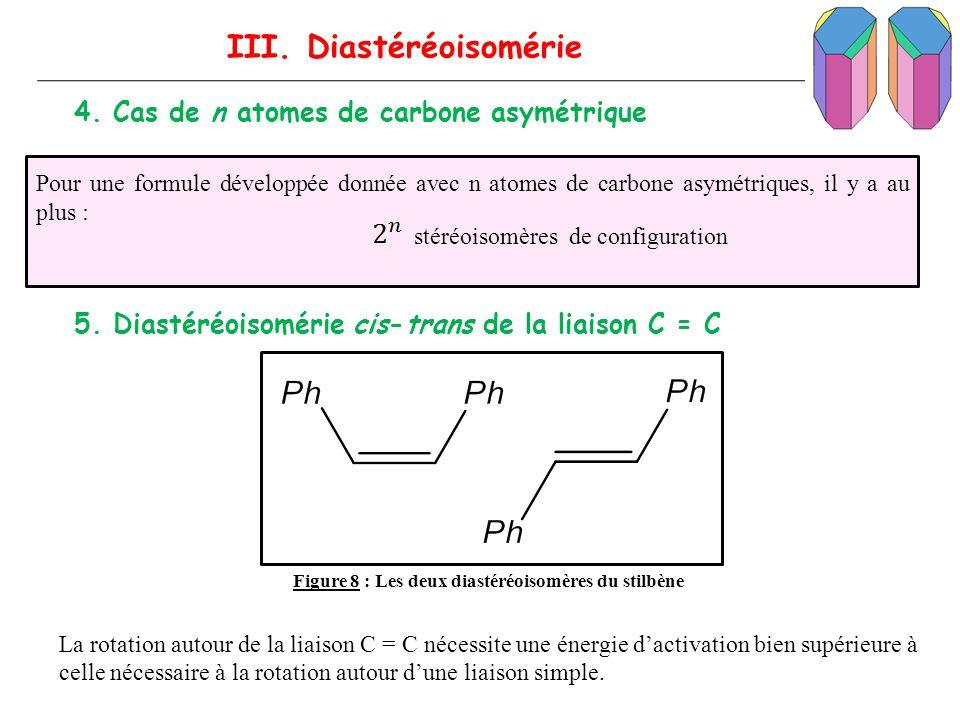 III. Diastéréoisomérie 4. Cas de n atomes de carbone asymétrique Pour une formule développée donnée avec n atomes de carbone asymétriques, il y a au p