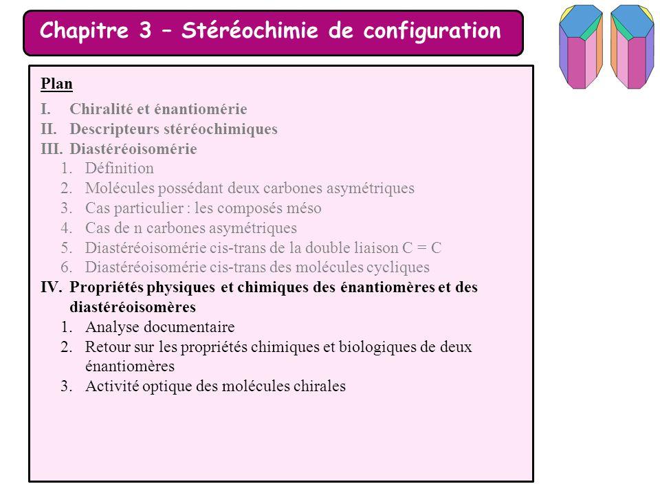 Chapitre 3 – Stéréochimie de configuration Plan I.Chiralité et énantiomérie II.Descripteurs stéréochimiques III.Diastéréoisomérie 1.Définition 2.Moléc