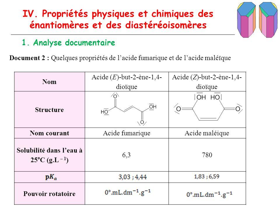 IV. Propriétés physiques et chimiques des énantiomères et des diastéréoisomères 1. Analyse documentaire Document 2 : Quelques propriétés de lacide fum