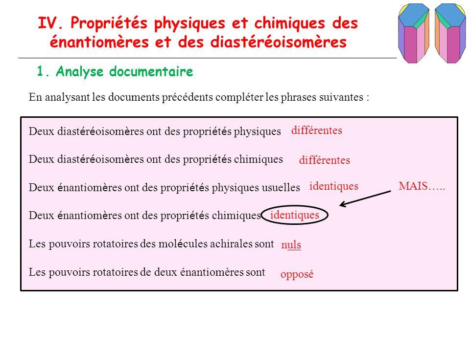 En analysant les documents précédents compléter les phrases suivantes : IV. Propriétés physiques et chimiques des énantiomères et des diastéréoisomère