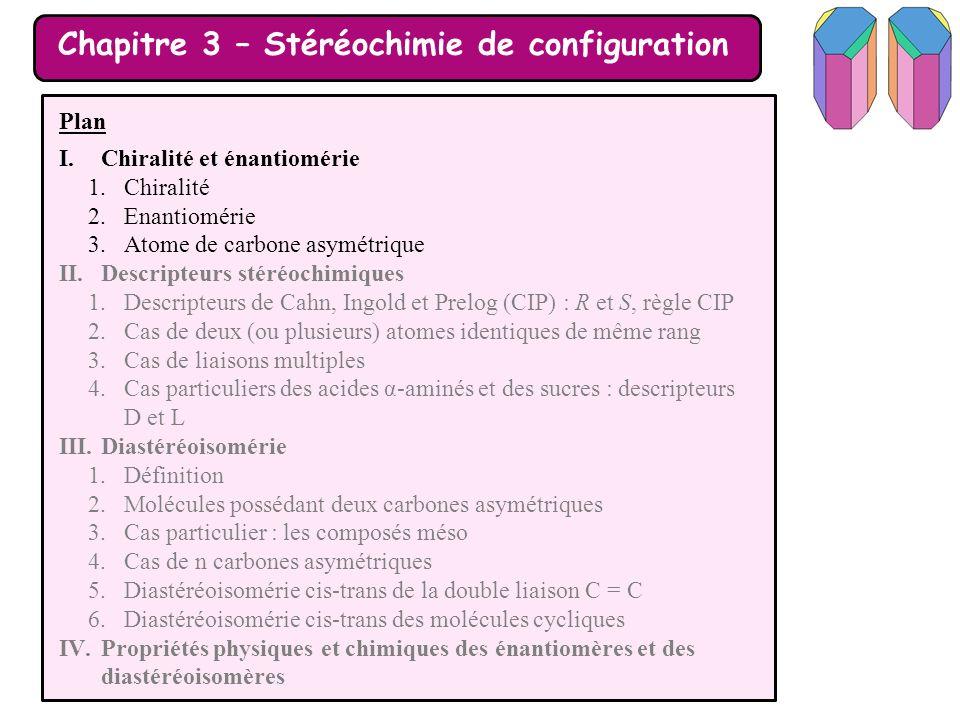 Chapitre 3 – Stéréochimie de configuration Plan I.Chiralité et énantiomérie II.Descripteurs stéréochimiques III.Diastéréoisomérie 1.Définition 2.Molécules possédant deux carbones asymétriques 3.Cas particulier : les composés méso 4.Cas de n carbones asymétriques 5.Diastéréoisomérie cis-trans de la double liaison C = C 6.Diastéréoisomérie cis-trans des molécules cycliques IV.Propriétés physiques et chimiques des énantiomères et des diastéréoisomères 1.Analyse documentaire 2.Retour sur les propriétés chimiques et biologiques de deux énantiomères 3.Activité optique des molécules chirales