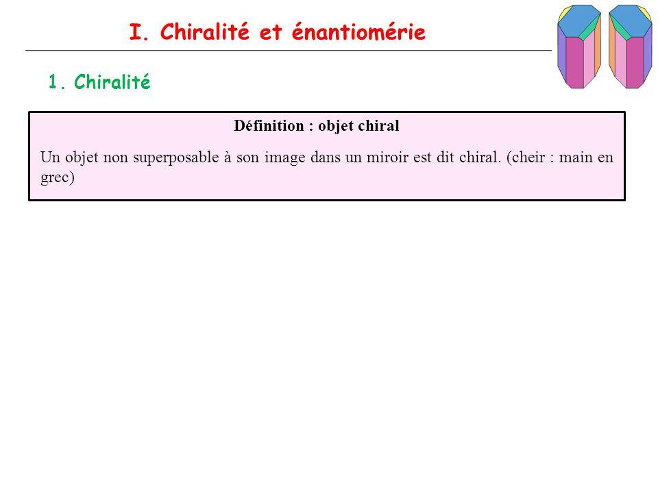 I. Chiralité et énantiomérie 1. Chiralité Définition : objet chiral Un objet non superposable à son image dans un miroir est dit chiral. (cheir : main