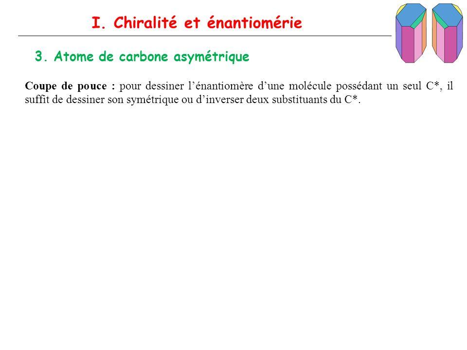 I. Chiralité et énantiomérie 3. Atome de carbone asymétrique Coupe de pouce : pour dessiner lénantiomère dune molécule possédant un seul C*, il suffit
