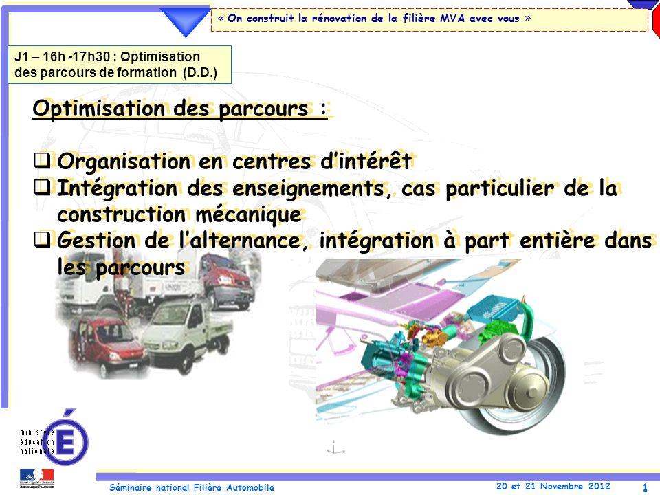 1 Séminaire national Filière Automobile 20 et 21 Novembre 2012 « On construit la rénovation de la filière MVA avec vous » Optimisation des parcours :