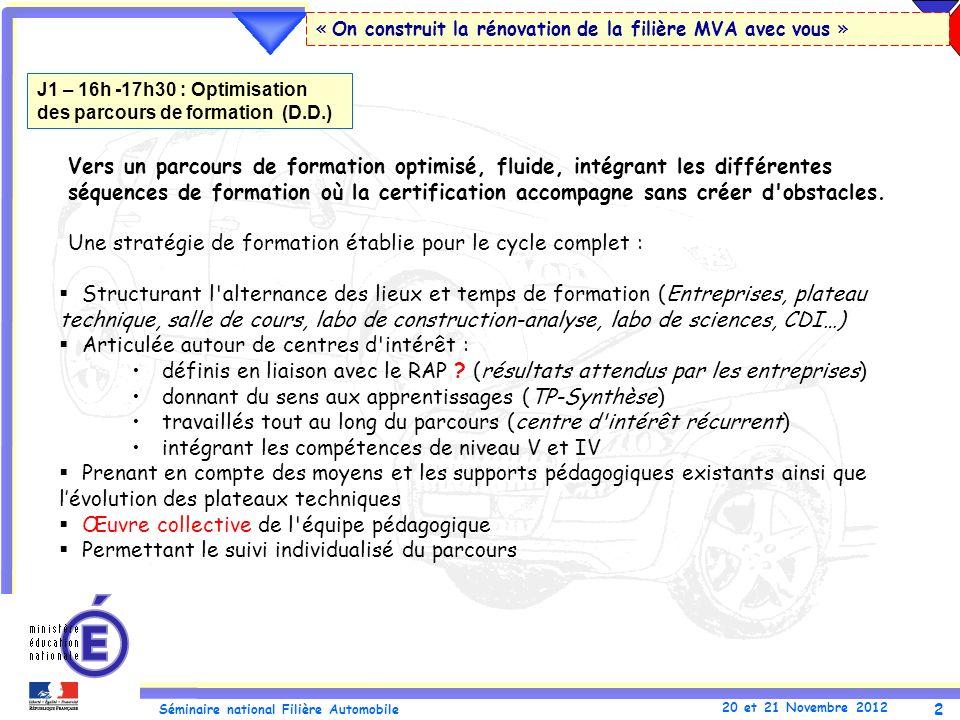 2 Séminaire national Filière Automobile 20 et 21 Novembre 2012 « On construit la rénovation de la filière MVA avec vous » Vers un parcours de formatio