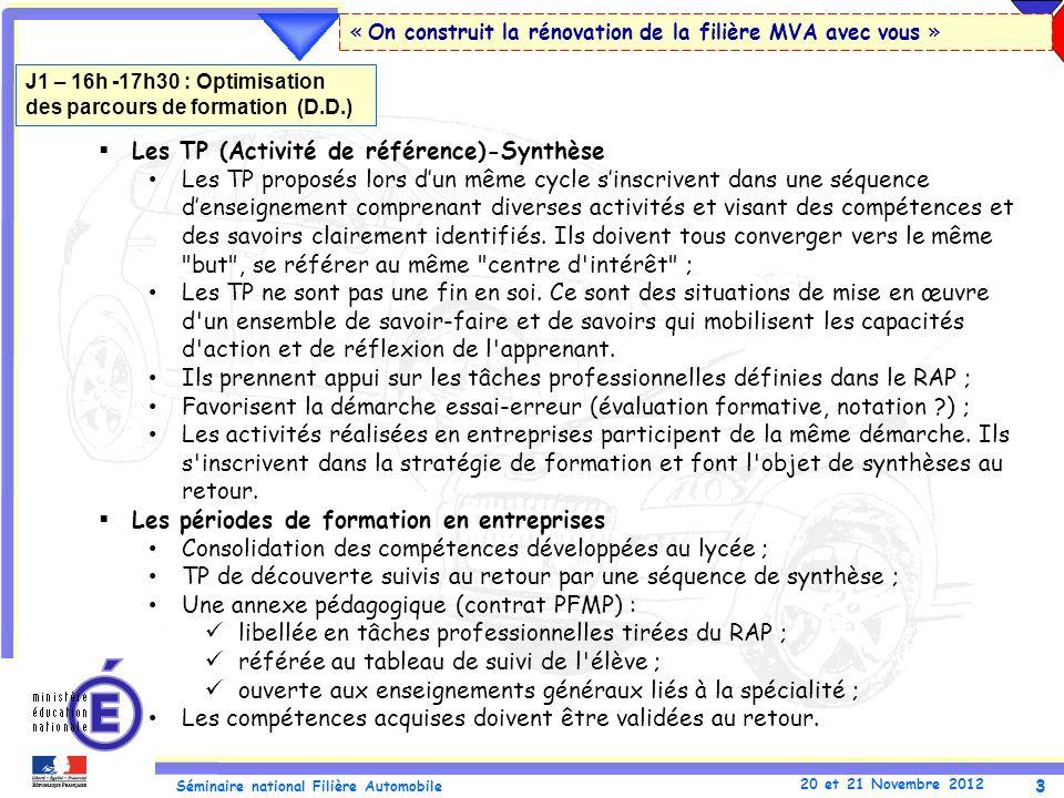 3 Séminaire national Filière Automobile 20 et 21 Novembre 2012 « On construit la rénovation de la filière MVA avec vous » Les TP (Activité de référenc