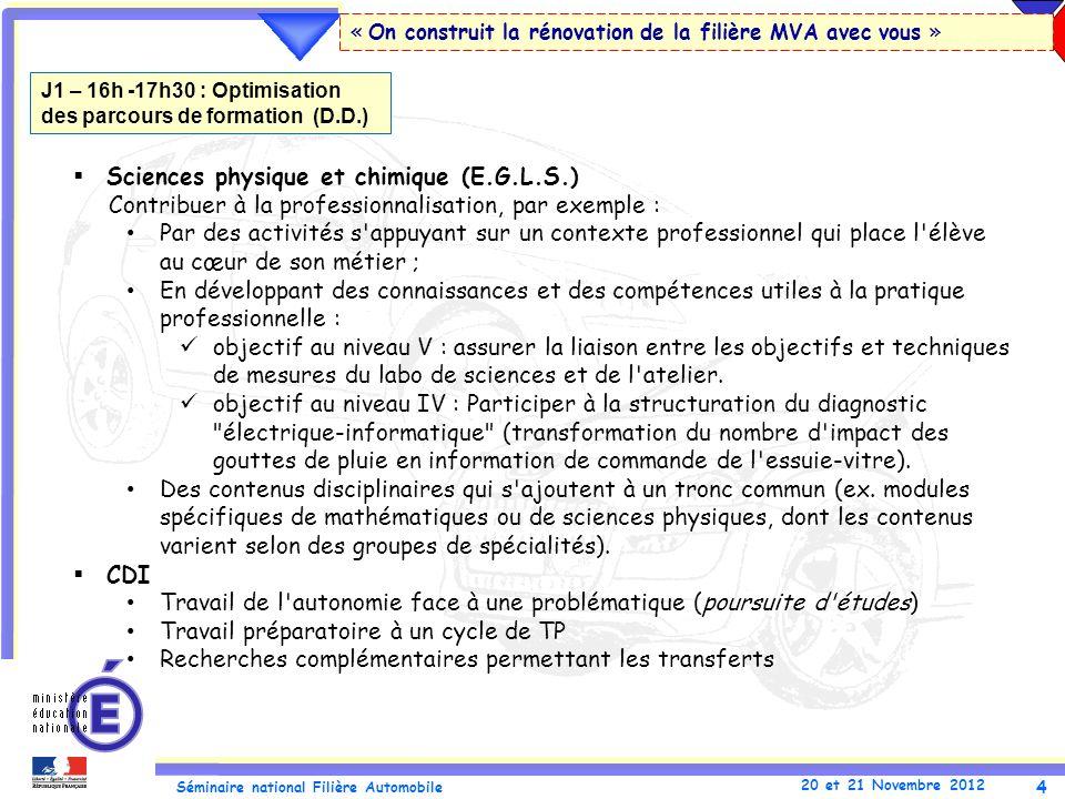 4 Séminaire national Filière Automobile 20 et 21 Novembre 2012 « On construit la rénovation de la filière MVA avec vous » Sciences physique et chimiqu