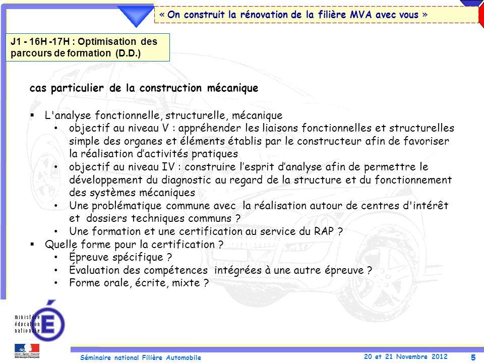 5 Séminaire national Filière Automobile 20 et 21 Novembre 2012 « On construit la rénovation de la filière MVA avec vous » J1 - 16H -17H : Optimisation