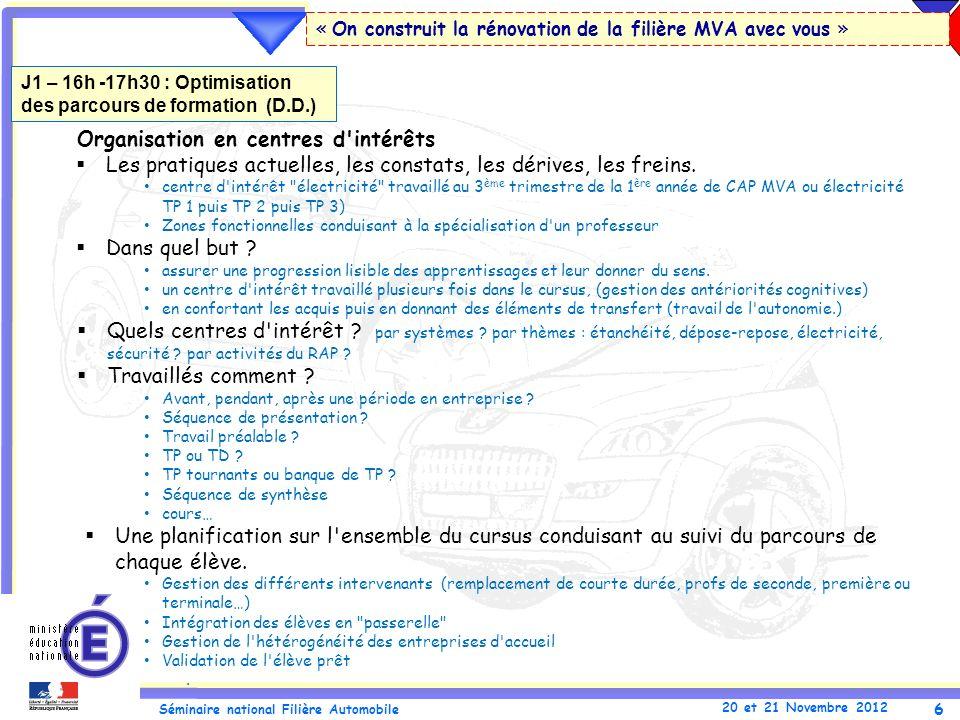 6 Séminaire national Filière Automobile 20 et 21 Novembre 2012 « On construit la rénovation de la filière MVA avec vous » Organisation en centres d'in
