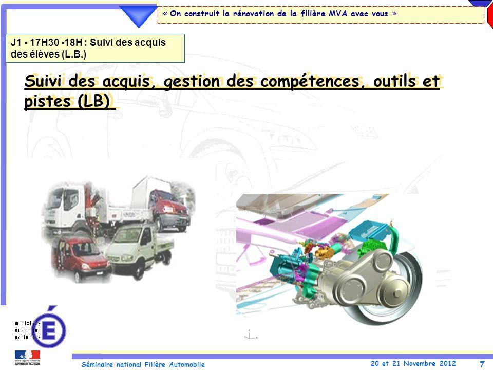 7 Séminaire national Filière Automobile 20 et 21 Novembre 2012 « On construit la rénovation de la filière MVA avec vous » Suivi des acquis, gestion de