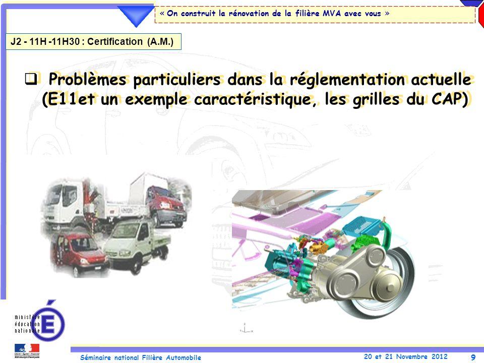 9 Séminaire national Filière Automobile 20 et 21 Novembre 2012 « On construit la rénovation de la filière MVA avec vous » Problèmes particuliers dans