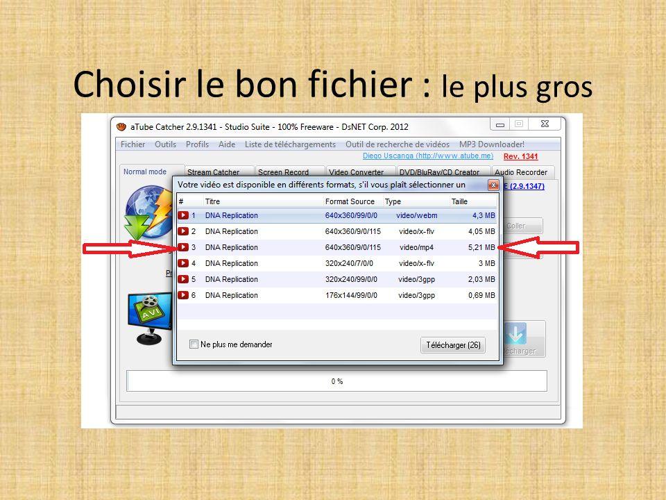 Choisir le bon fichier : le plus gros