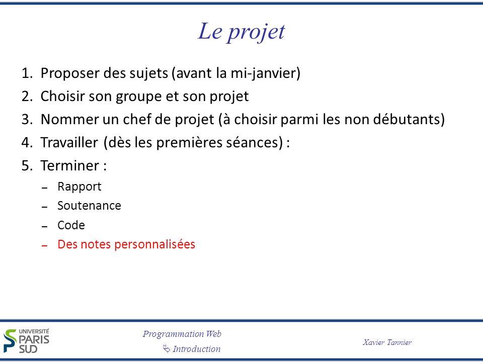 Programmation Web Introduction Xavier Tannier Le projet 1. Proposer des sujets (avant la mi-janvier) 2. Choisir son groupe et son projet 3. Nommer un