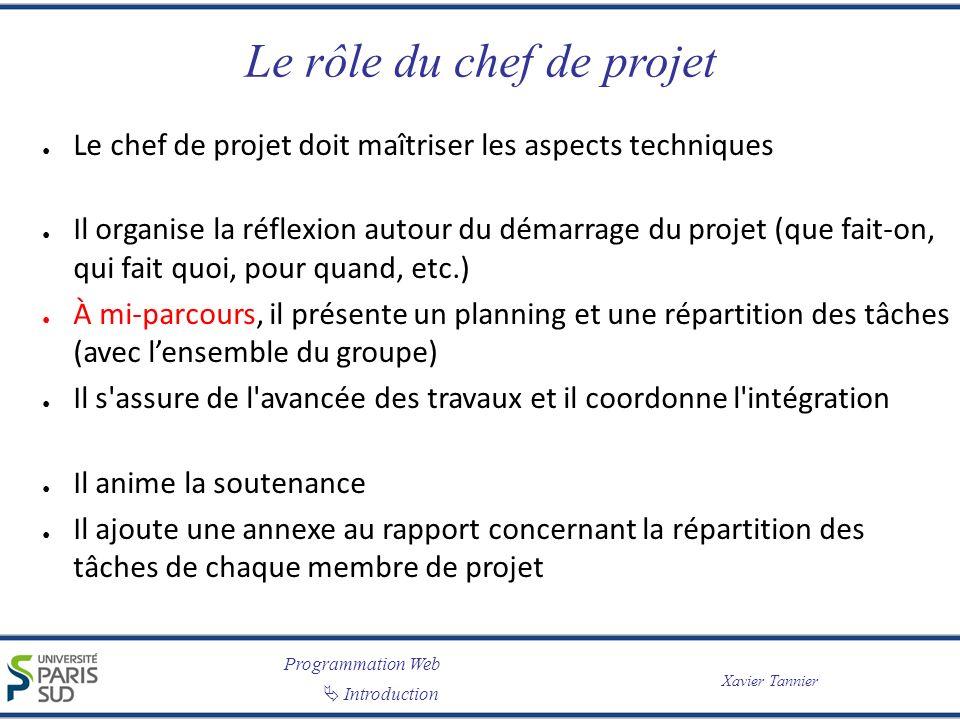 Programmation Web Introduction Xavier Tannier Le rôle du chef de projet Le chef de projet doit maîtriser les aspects techniques Il organise la réflexi