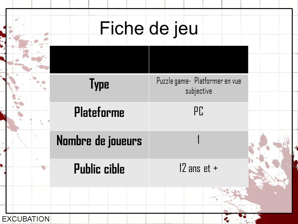 Fiche de jeu EXCUBATION Type Puzzle game- Platformer en vue subjective Plateforme PC Nombre de joueurs 1 Public cible 12 ans et +