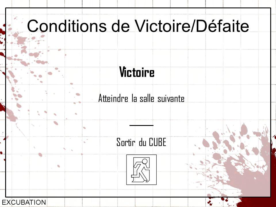 Conditions de Victoire/Défaite EXCUBATION Victoire Atteindre la salle suivante Sortir du CUBE