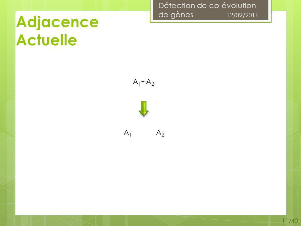 Détection de co-évolution de gènes 12/09/2011 11/40 Adjacence Actuelle A 1 ~A 2 A1A1 A2A2
