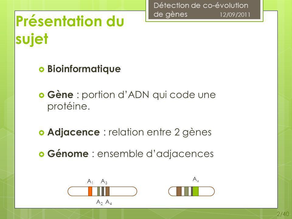 Détection de co-évolution de gènes 12/09/2011 23/40 Algorithmes de calcul de coûts différentiels A 1 G 1 et A 2 G 2 G 1 (A 1 ), G 2 (A 2 ) sous-arbre de racine A 1 ou A 2.