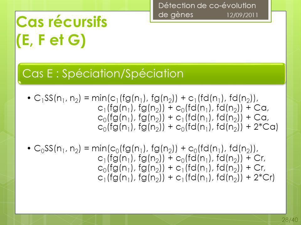 Détection de co-évolution de gènes 12/09/2011 28/40 Cas récursifs (E, F et G)