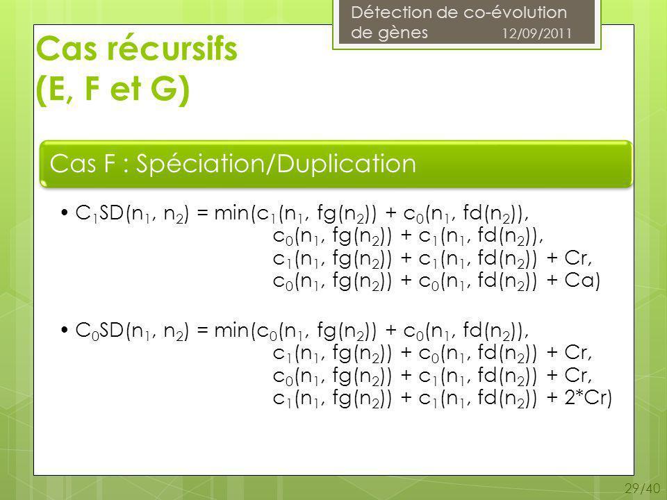 Détection de co-évolution de gènes 12/09/2011 29/40 Cas récursifs (E, F et G)