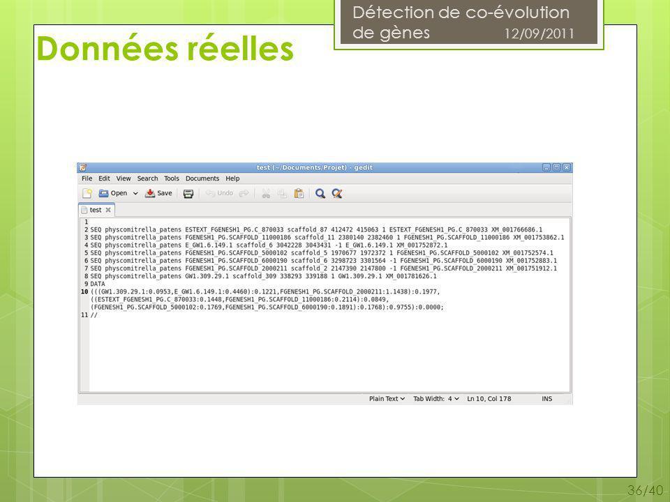 Détection de co-évolution de gènes 12/09/2011 36/40 Données réelles