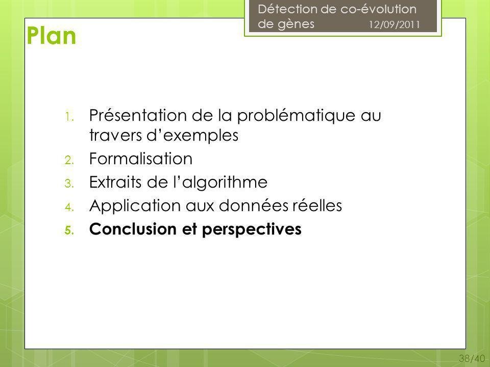 Détection de co-évolution de gènes 12/09/2011 38/40 1.