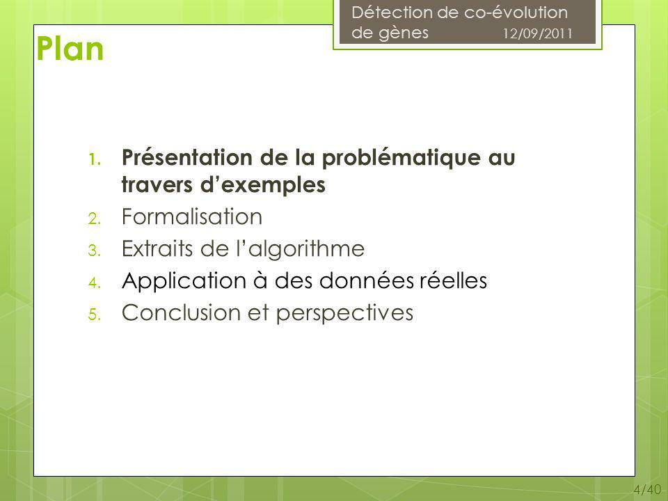 Détection de co-évolution de gènes 12/09/2011 5/40 Définitions Une adjacence entre 2 gènes A 1 et A 2 se note A 1 ~A 2 ou A 2 ~A 1 (symétrie) Arbre phylogénétique : graphe connexe non cyclique, orienté Arbre de gènes Arbre despèces Arbre dadjacences Forêt : ensemble darbres