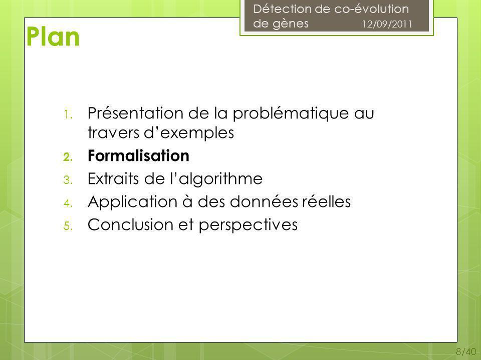 Détection de co-évolution de gènes 12/09/2011 39/40 Conclusion Bilan Appropriation du sujet, bibliographie Formalisation et propriétés Algorithme DéCo sur papier Test sur des données construites Code Preuves de certaines propriétés
