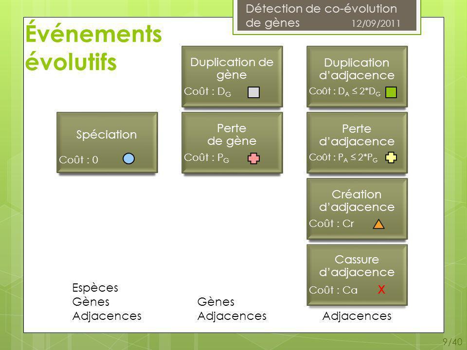Détection de co-évolution de gènes 12/09/2011 10/40 Arbre dadjacences Feuilles : Adjacence actuelle Perte dadjacence Perte de gène Cassure Nœuds internes : Nœud de spéciation Nœud de duplication dadjacence Nœud de duplication de gène Création dadjacence Remarque : un arbre dadjacences (ou une forêt darbres dadjacences) est associé(e) à un ou plusieurs arbres de gènes et à une liste dadjacences.