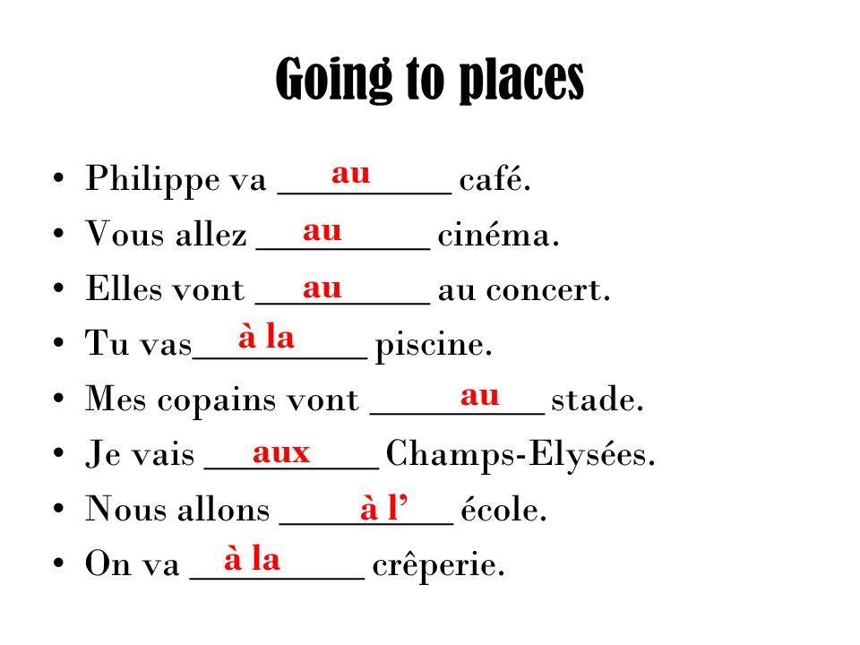 Going to places Philippe va _________ café. Vous allez _________ cinéma.