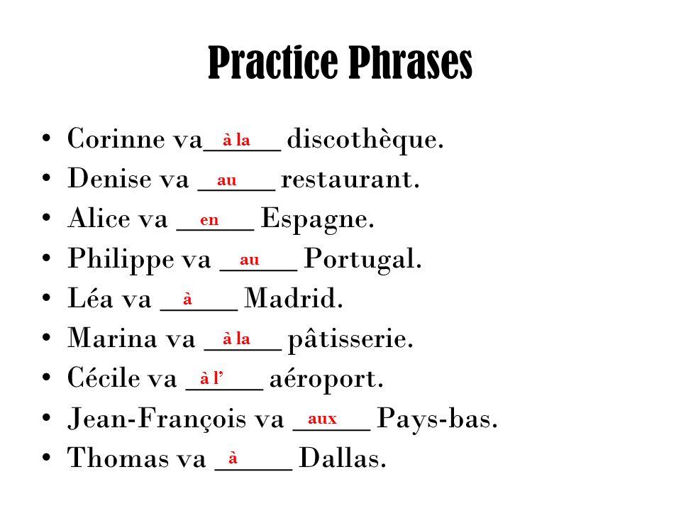 Practice Phrases Corinne va_____ discothèque. Denise va _____ restaurant.