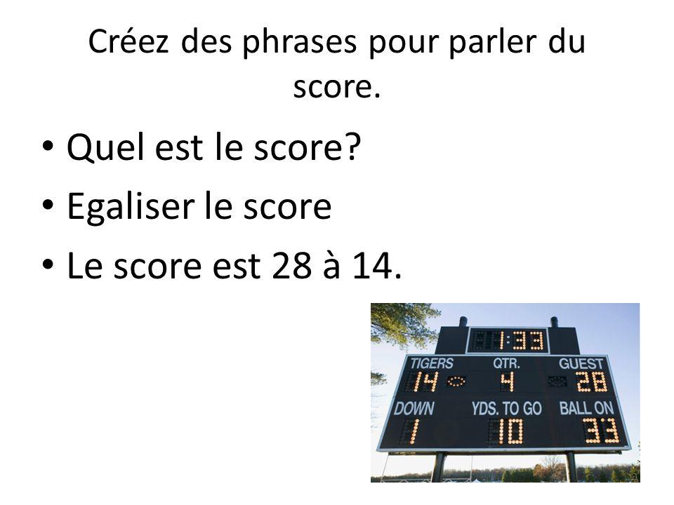 Créez des phrases pour parler du score. Quel est le score Egaliser le score Le score est 28 à 14.