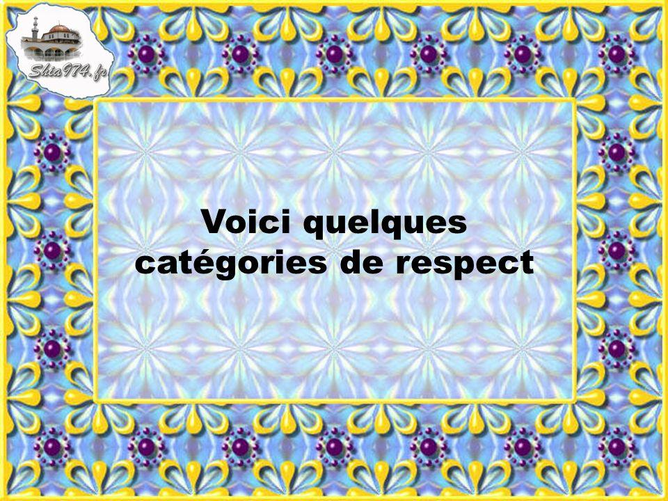 Voici quelques catégories de respect