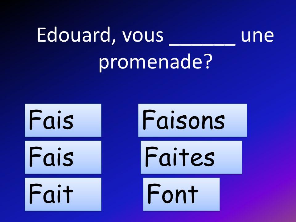 Edouard, vous ______ une promenade Fais Fait Faisons Faites Font