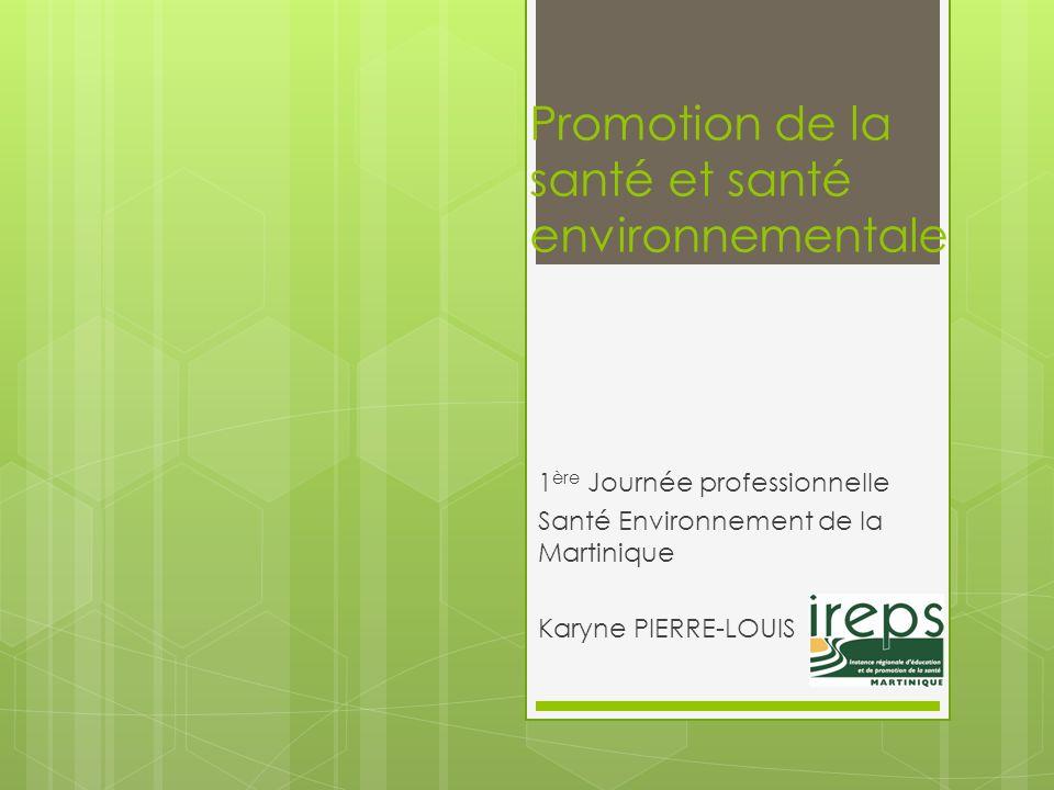 Promotion de la santé et santé environnementale 1 ère Journée professionnelle Santé Environnement de la Martinique Karyne PIERRE-LOUIS
