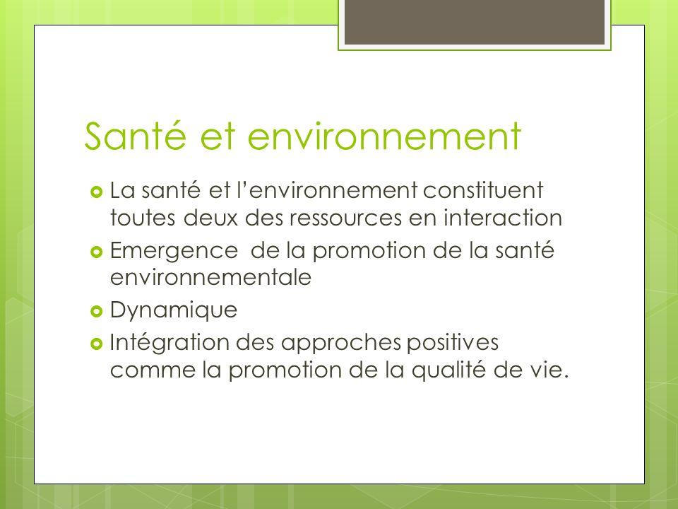 Santé et environnement La santé et lenvironnement constituent toutes deux des ressources en interaction Emergence de la promotion de la santé environn