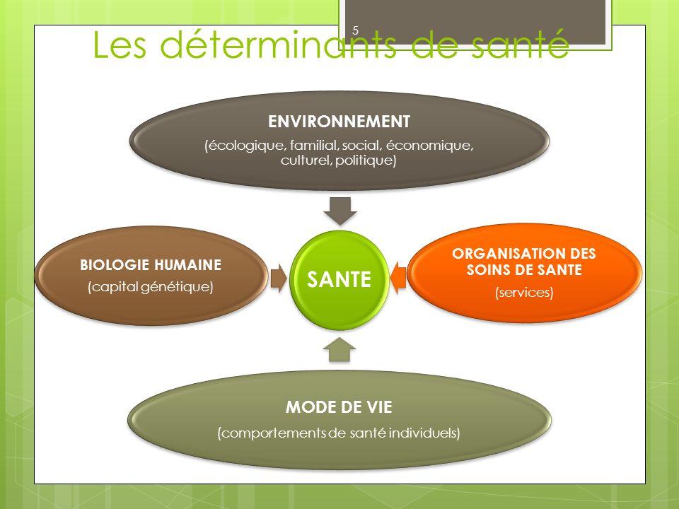 Les déterminants de santé SANTE ENVIRONNEMENT (écologique, familial, social, économique, culturel, politique) ORGANISATION DES SOINS DE SANTE (service