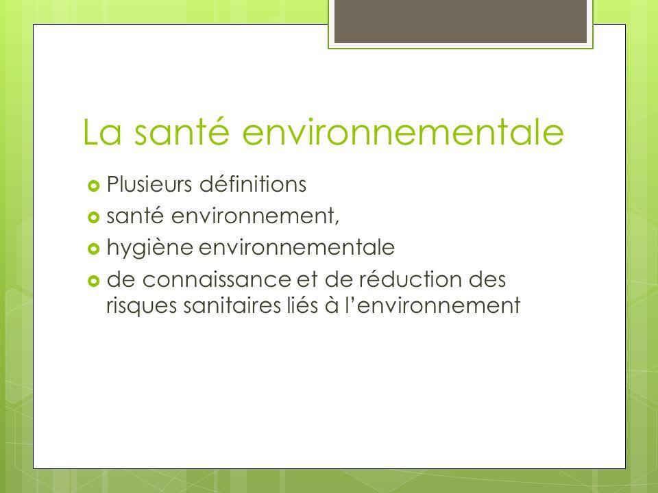 La santé environnementale Plusieurs définitions santé environnement, hygiène environnementale de connaissance et de réduction des risques sanitaires l
